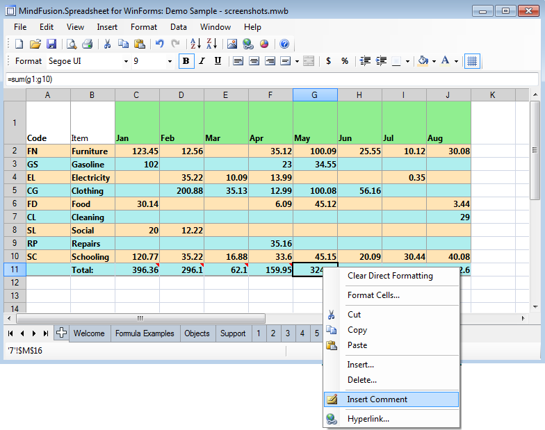 Spreadsheet Component For Winforms Excel Vb Net C