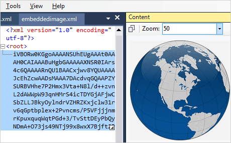 XML Viewer: Image Preview