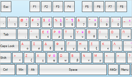 Virtuelle Tastatur: Griechisches Layout