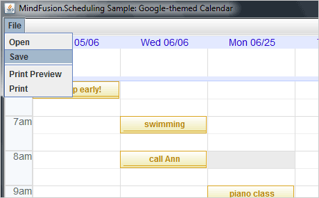 Java Swing Calendar Library | Timetable Tool | Java Swing Scheduler
