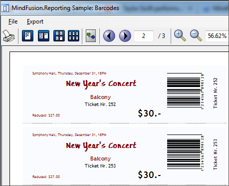 MindFusion WinForms Reporter: Barcodes