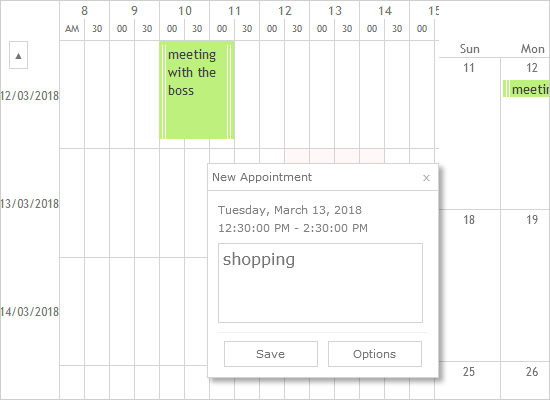 Interactive Timetable and a Monthly Calendar