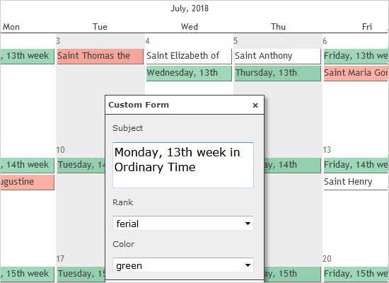 JavaScript Calendar with Holidays Data Loaded from a File