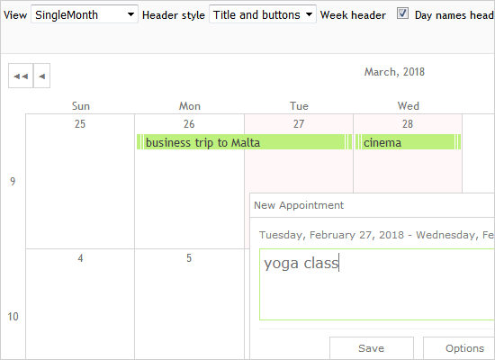 A Monthly Calendar in JavaScript