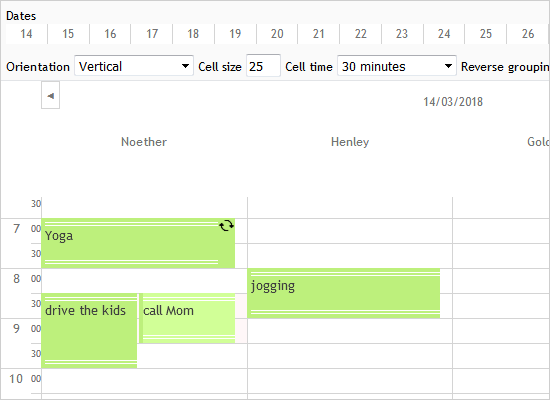 Appointments Timetable in JavaScript